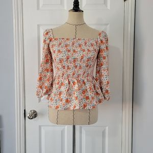 Pink Lily Floral Square Neck Smocked Top
